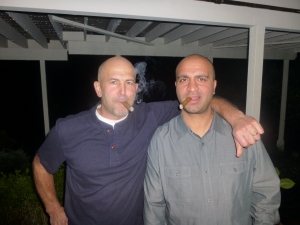 Two dudes celebrate Baby Chopra & have a cigar