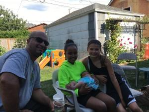 Uncle Sanjay, Gia, Friend Naomi holding cousin Devi