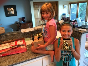 Gia and Kaya with Sana Nasim's gift